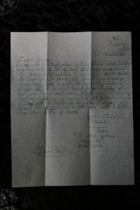 Letter from Jean Muir Closeup